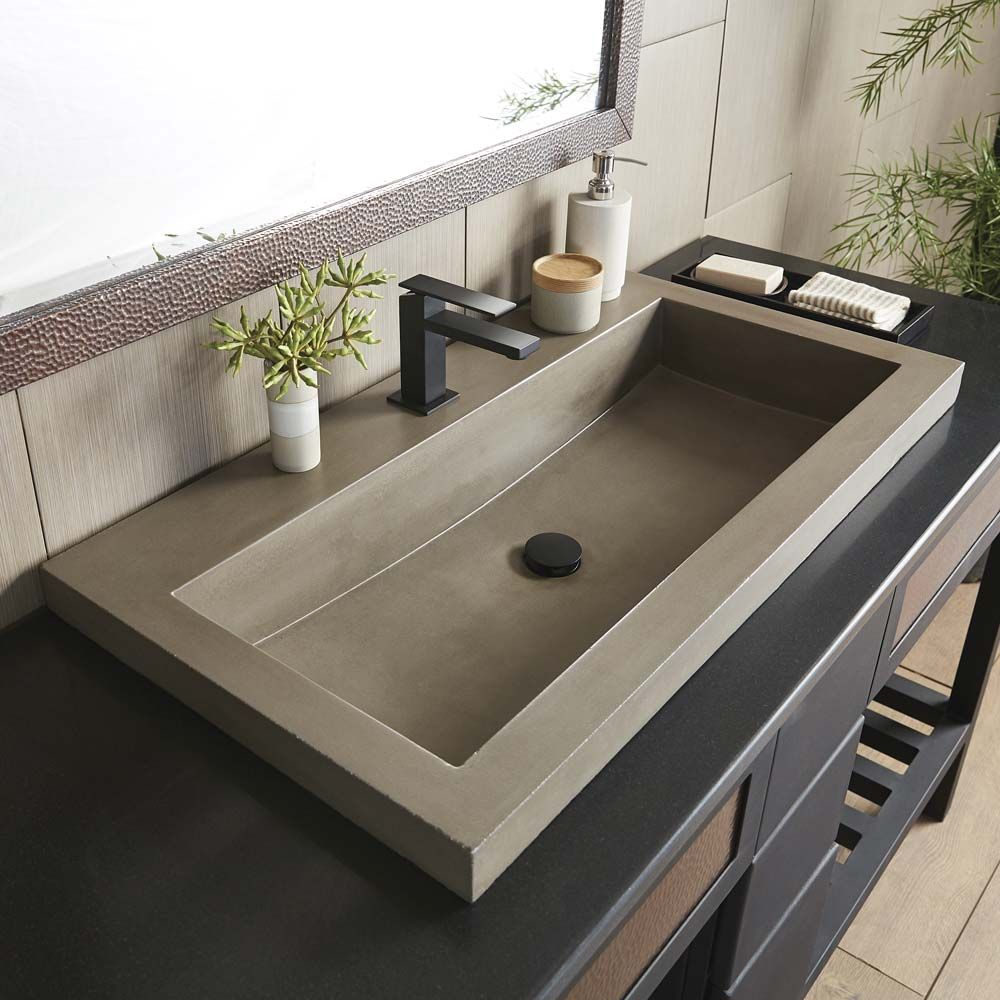 Trough 3619 36 Inch Concrete Trough Bathroom Sink Native Trails Drop In Bathroom Sinks Concrete Bathroom Rectangular Sink Bathroom