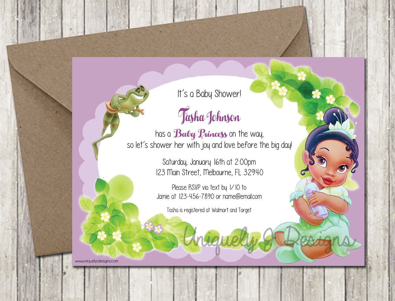 Princess Tiana Baby Shower Invitation – Princess Tiana Party Invitations