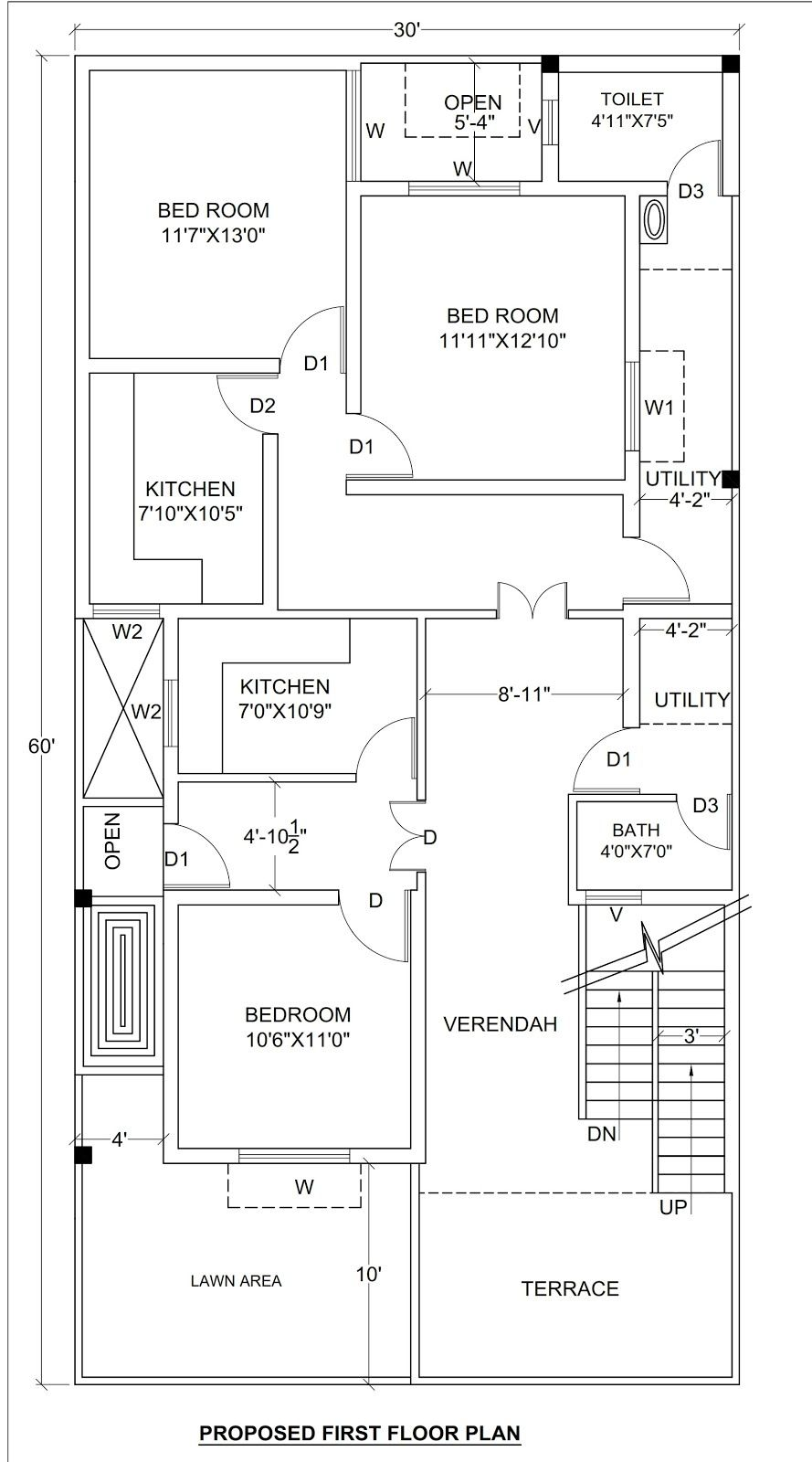 House Plan For 30 X 60 1800 Sq Ft Housewala 2bhk House Plan House Plans 30x50 House Plans