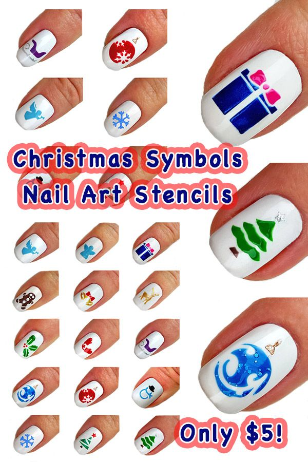 Christmas Symbols Nail Art Stencils! Only $5 and perfect to show off ...
