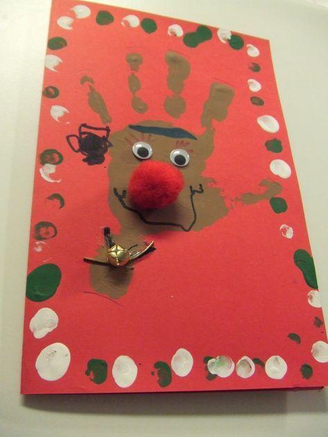 Tarjetas de Navidad hechas a mano Huella, Tarjetas y Navidad