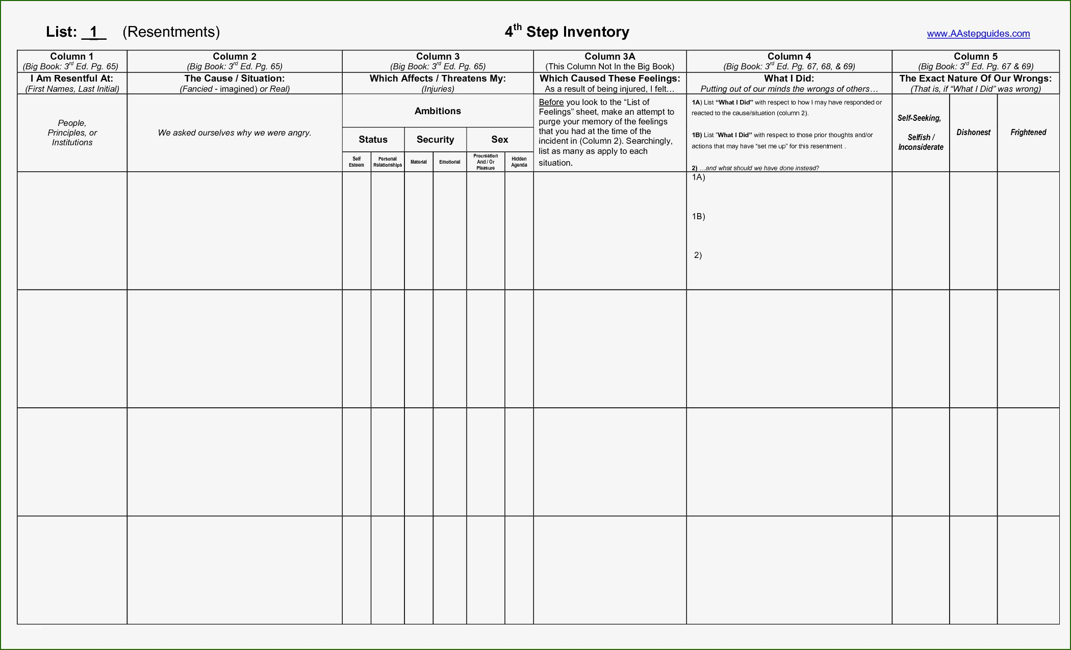 4th Step Inventory Template 12 Scheme You Ll Want To Copy