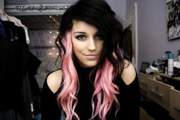 Black Hair With Pink Underneath | Black Hair With Pink Streaks