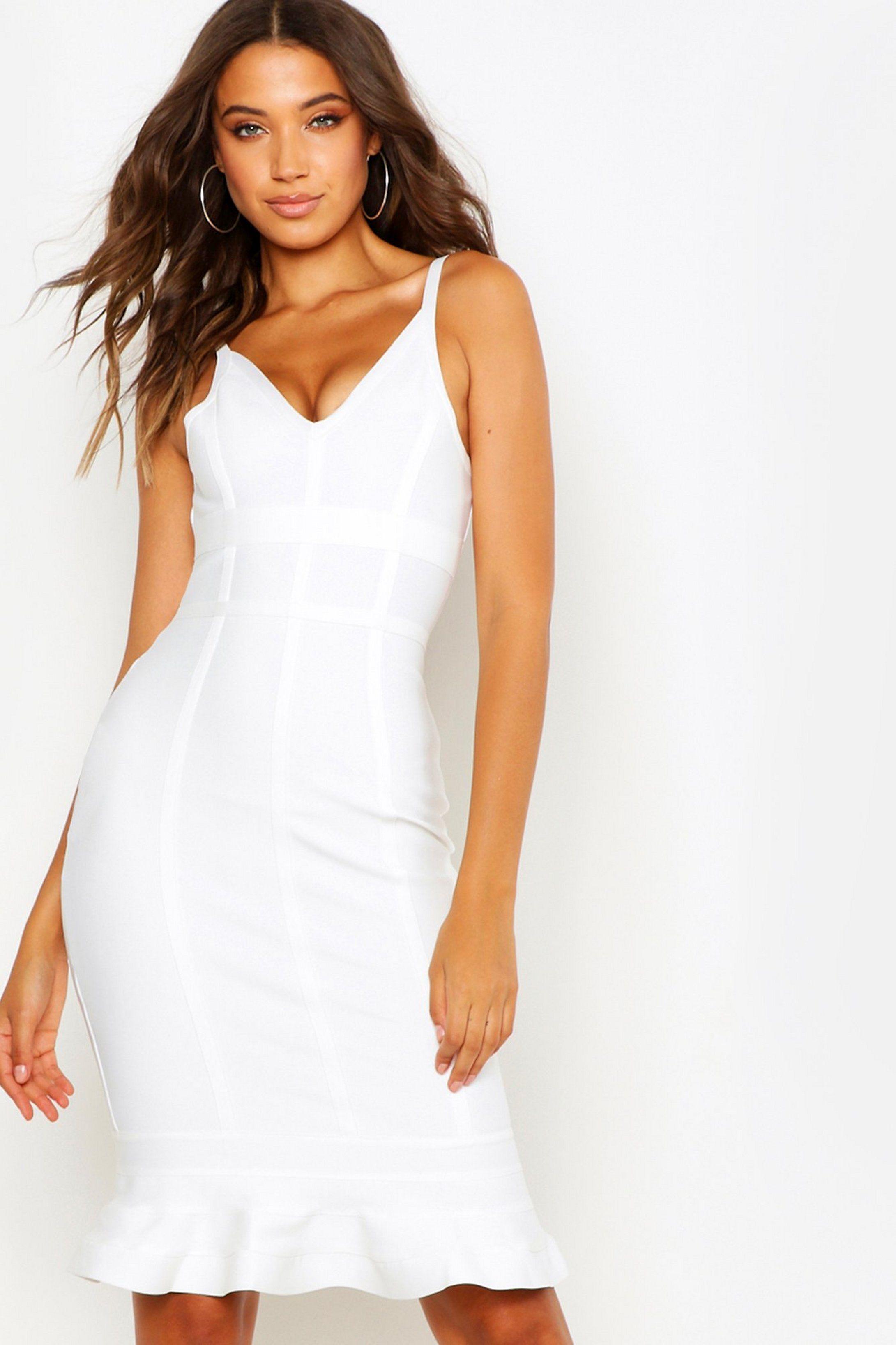 Tall Bandage Frill Hem Midi Dress Boohoo Dresses To Wear To A Wedding White Short Dress Clothing For Tall Women [ 3273 x 2181 Pixel ]