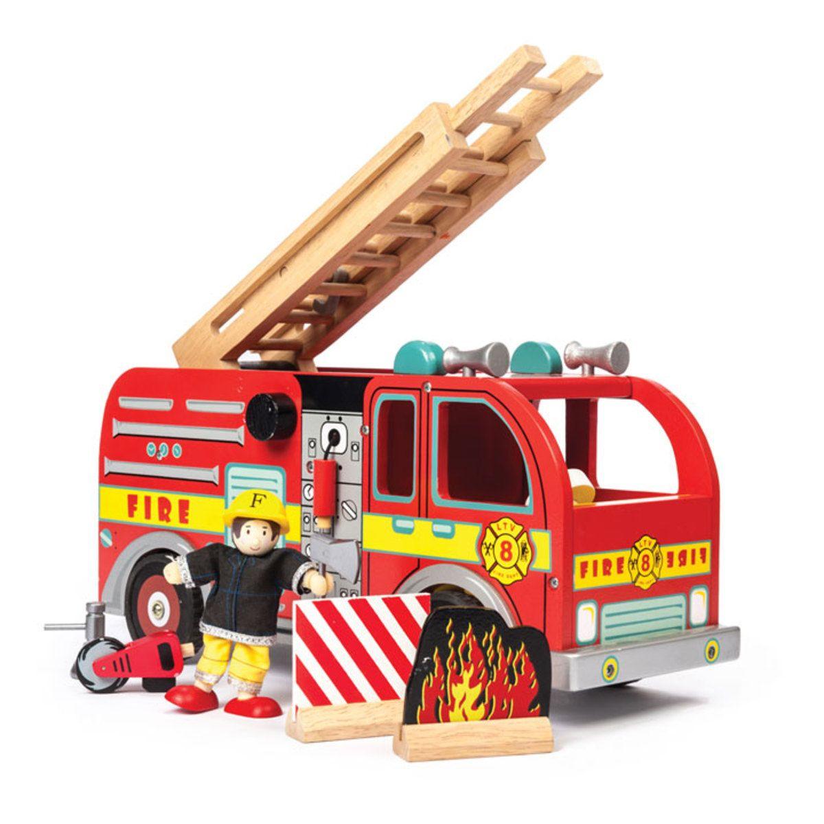 jouet en bois camion de pompiers avec pompier camion de. Black Bedroom Furniture Sets. Home Design Ideas