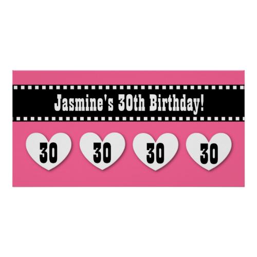 30th Birthday Pink Black Hearts Banner Custom V10 Posters Birthday