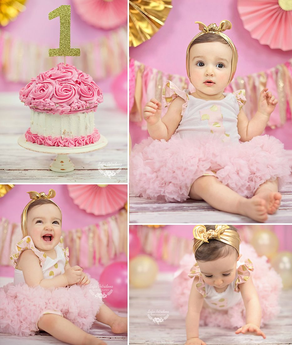 Pink and gold cake smash, baby, photoshoot, studio, 1st