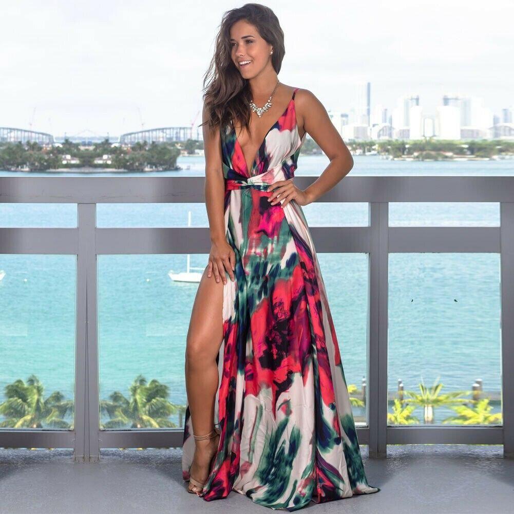Party Maxi Casual Evening sundress Fashion women/'s beach V Neck Dresses Cocktail