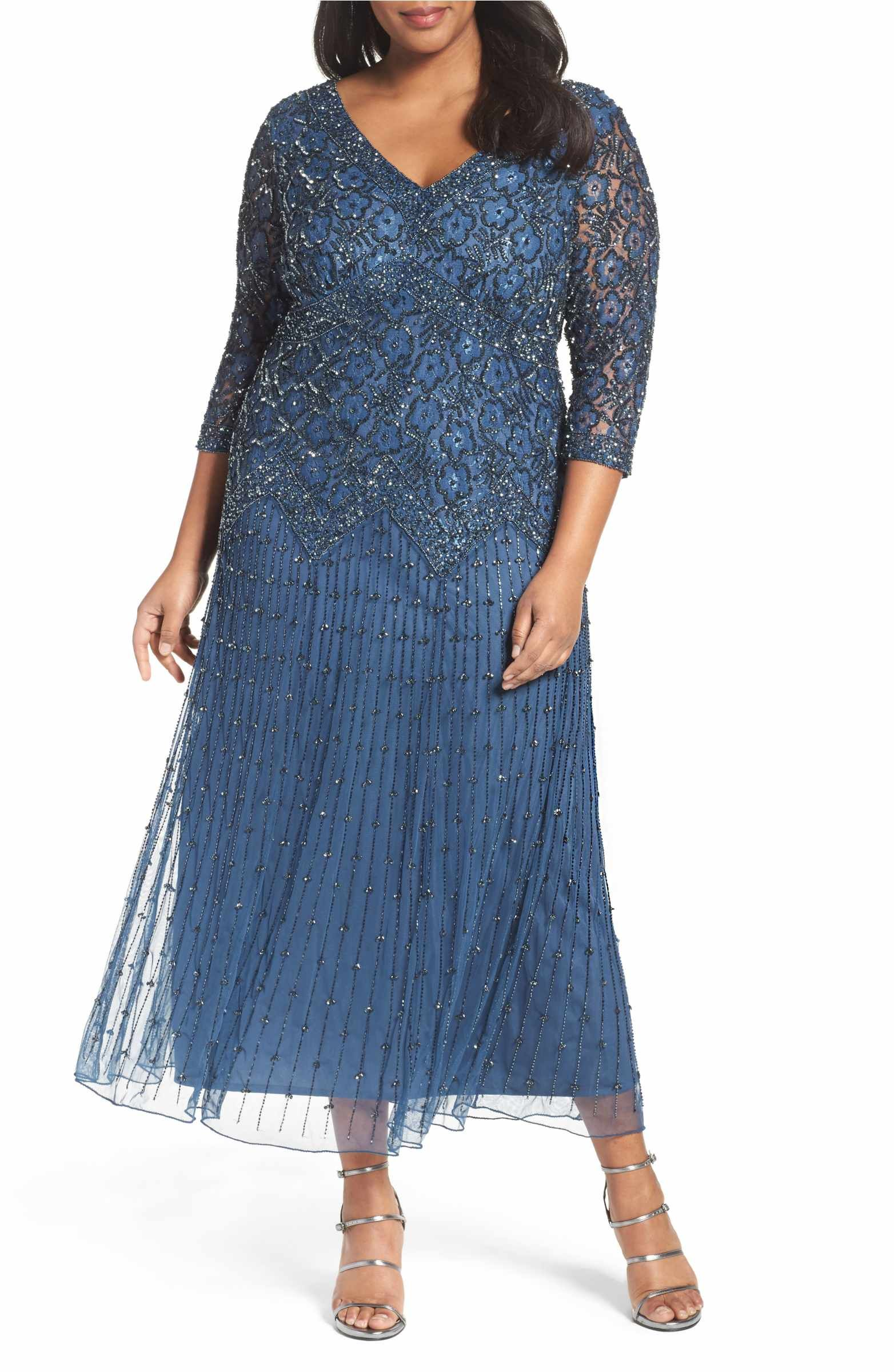 e2b1af0db51 Main Image - Pisarro Nights Beaded V-Neck Lace Illusion Gown (Plus Size)