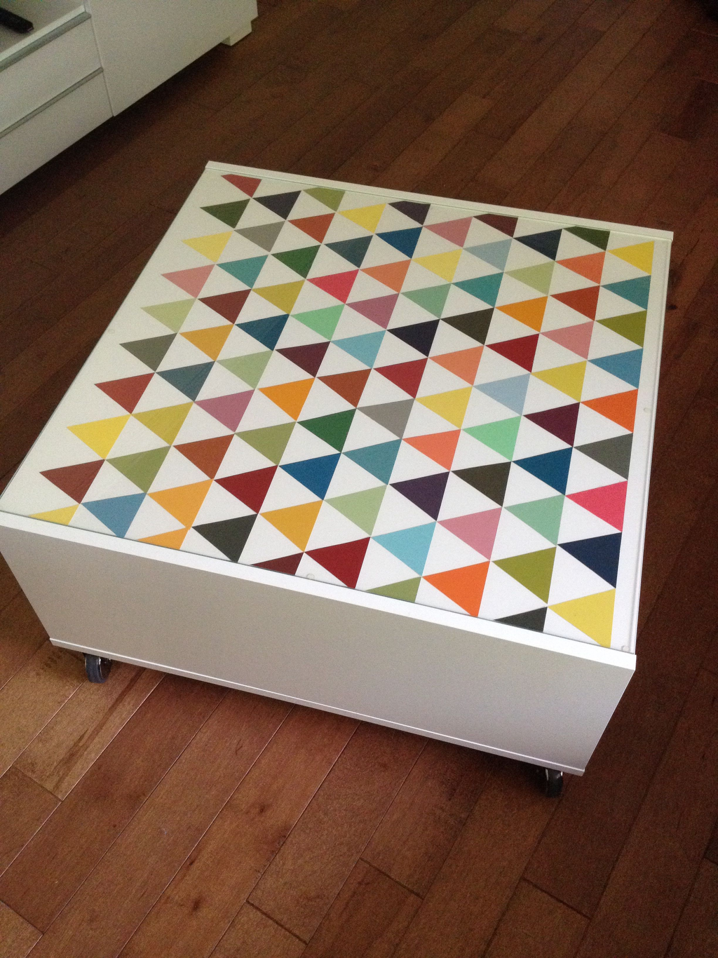 Paint Chip Triangles To Customize My Boksel Ikea Coffee Table Ikea Coffee Table Indoor Decor Art Table [ 3264 x 2448 Pixel ]