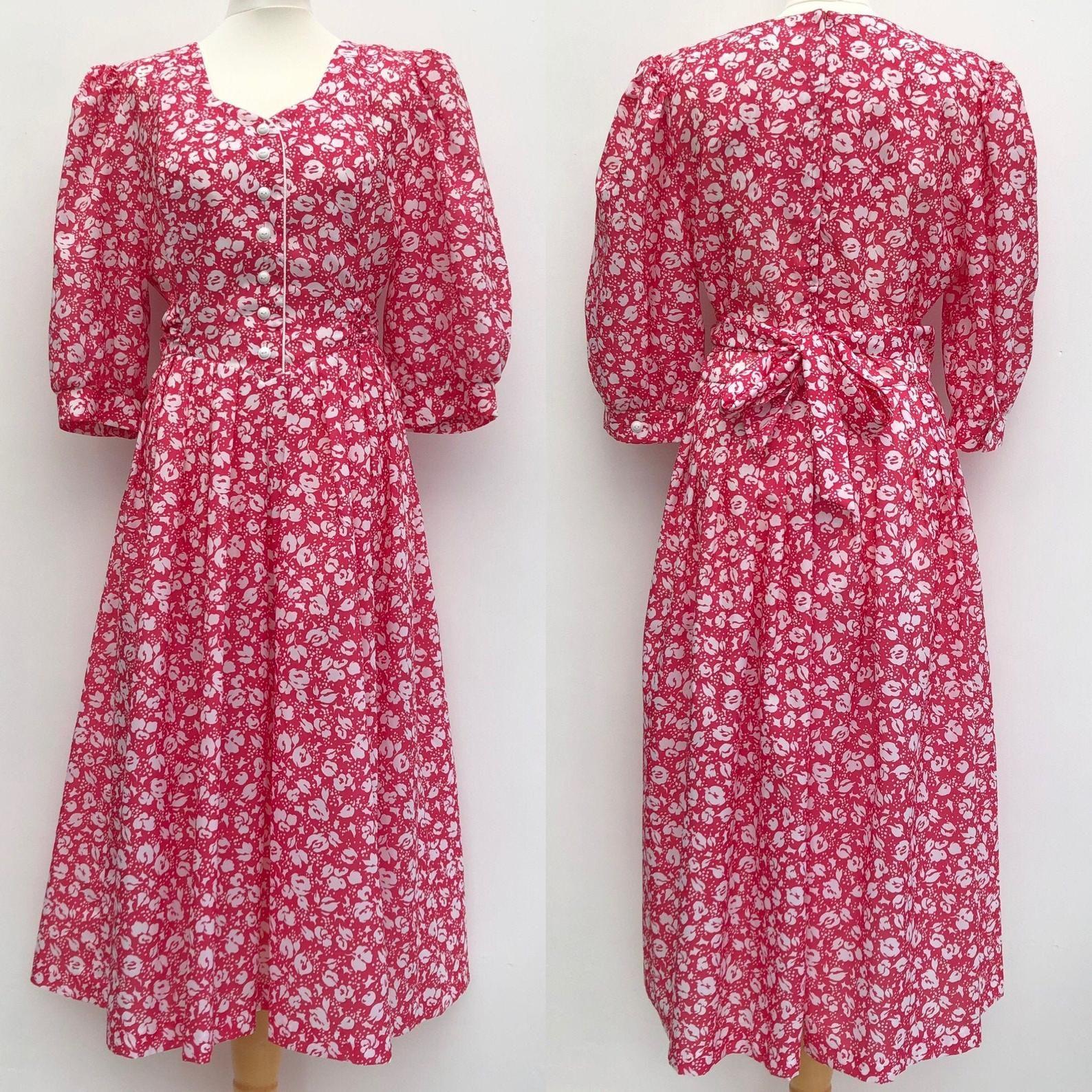 Vintage 80s Kerena Floral Midi Dress Vintage Clothing Uk Etsy In 2020 Floral Midi Dress Midi Dress Dresses