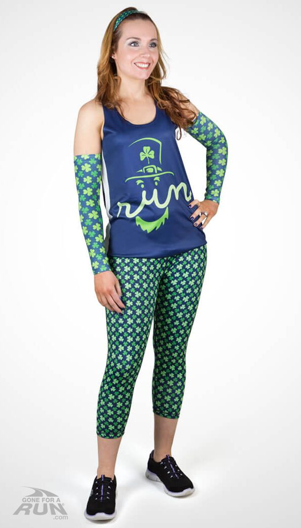 Run like a lucky leprechaun this St. Patrick's Day in this sporty running outfit which features coordinating shamrock designs. Matches Lucky Runner shorts.