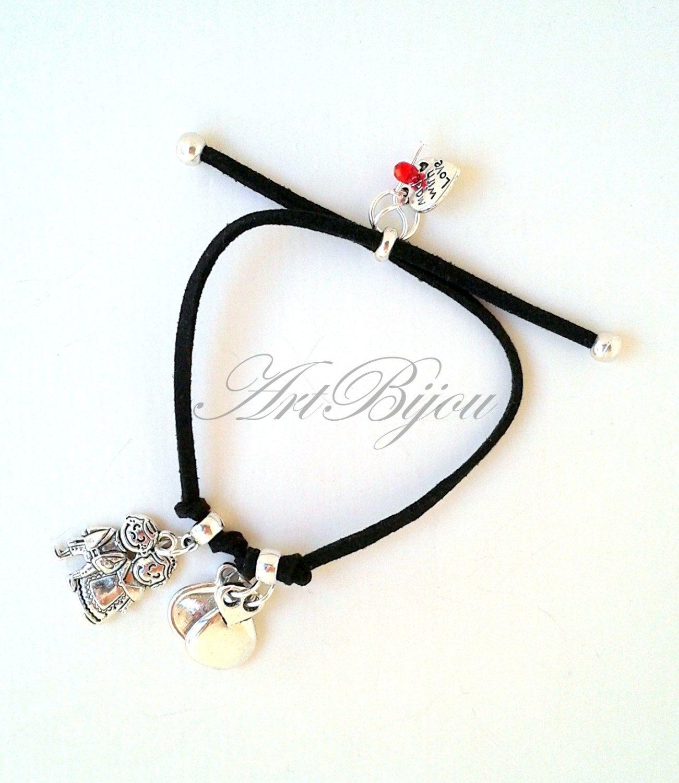 Zamak Bracelet, Suede Bracelet, Adjustable Bracelet, Pendant Bracelet, Green Bracelet, Women Gift, Gift Her, Gift Idea, Girl Gifts, Spain