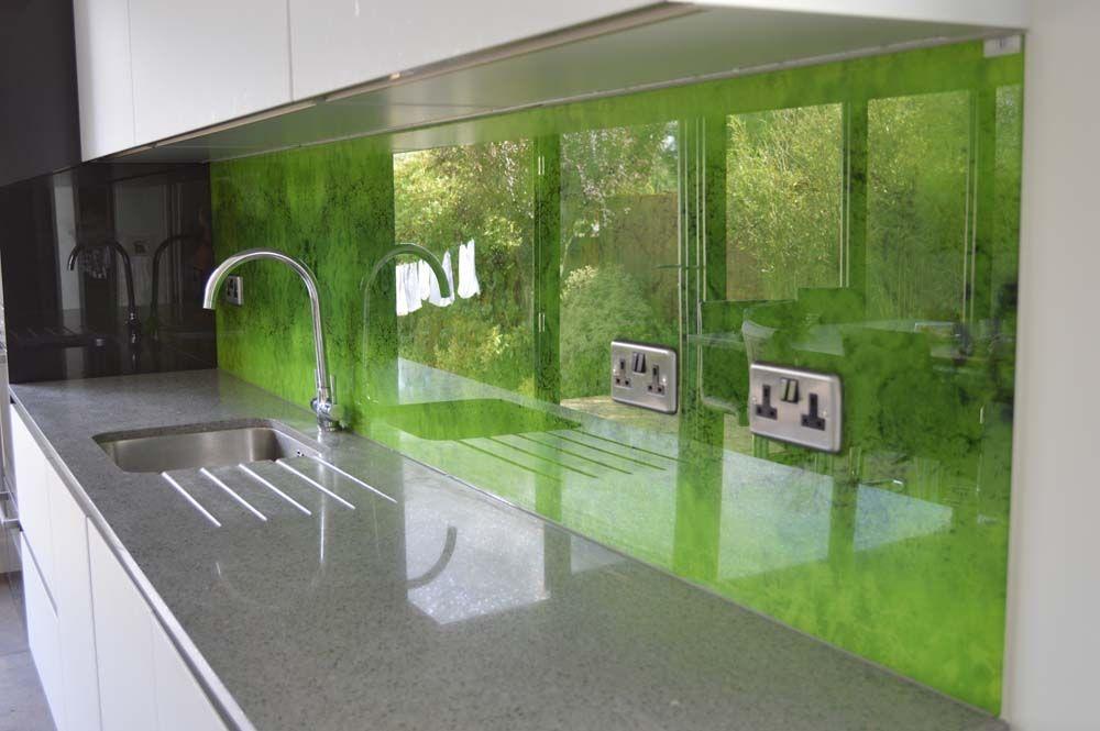 Green Moss Printed Kitchen Glass Splashback By Creoglass Design