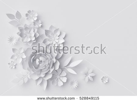 3d render, digital illustration, white paper flowers background - blank greeting card template word