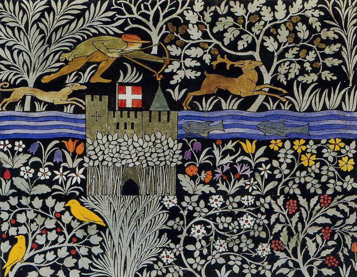 printsandthings:  'The Huntsman' textile design by C F A Voysey, produced in 1919.