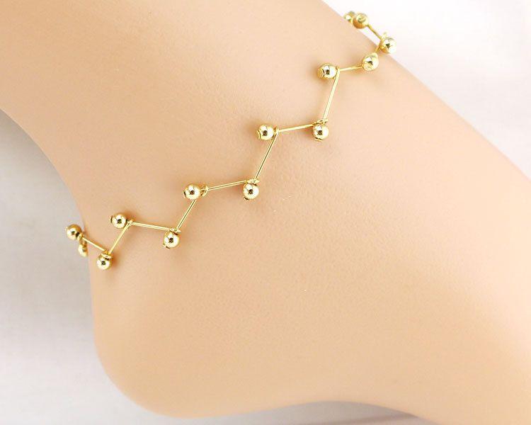 c8897f842ba8b Gold Leg Bracelet Chain Bead Foot Jewelry Ankle Bracelets for Women ...