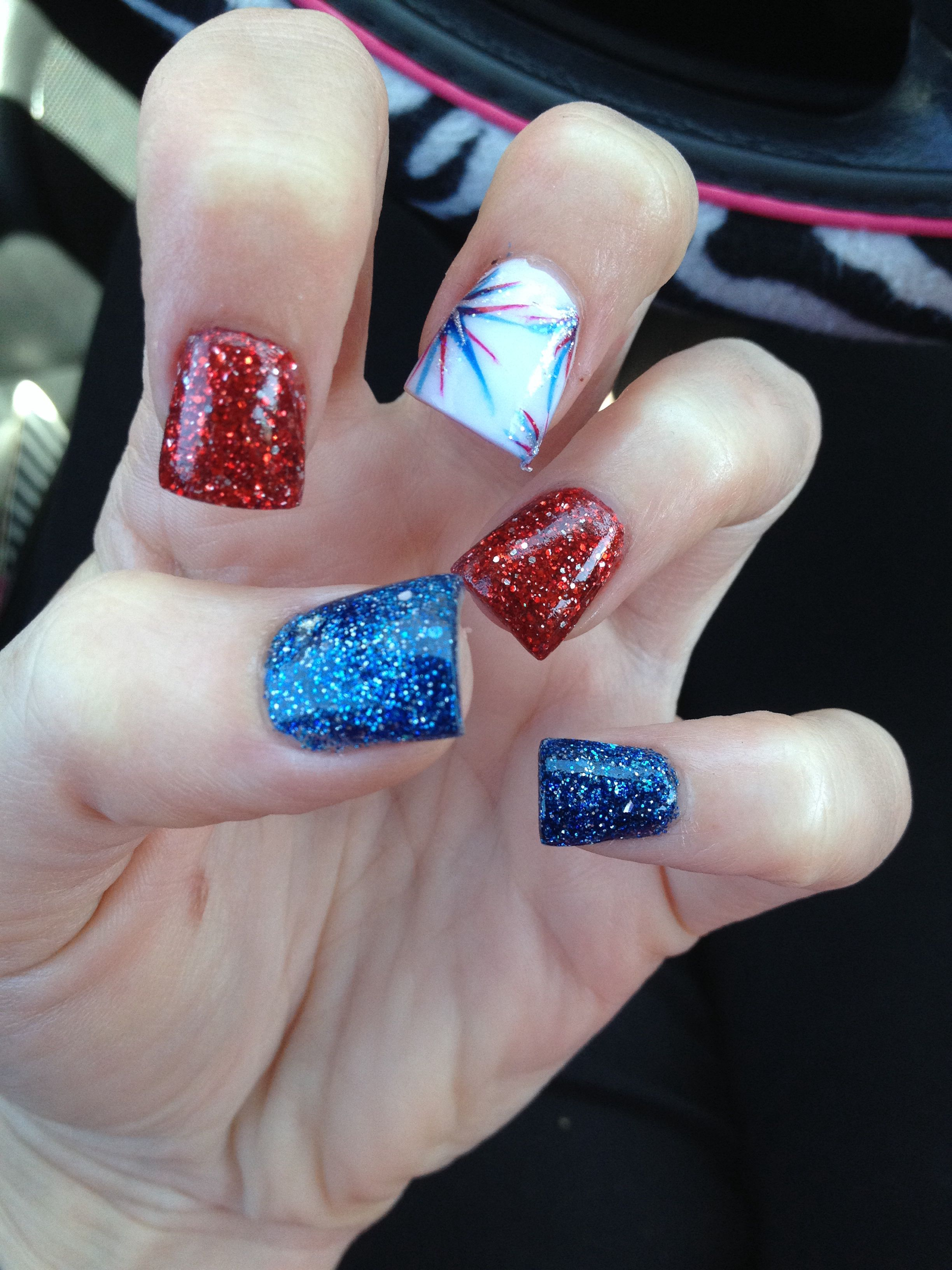 4th Of July Nails With Images Patriotic Nails July Nails Firework Nails