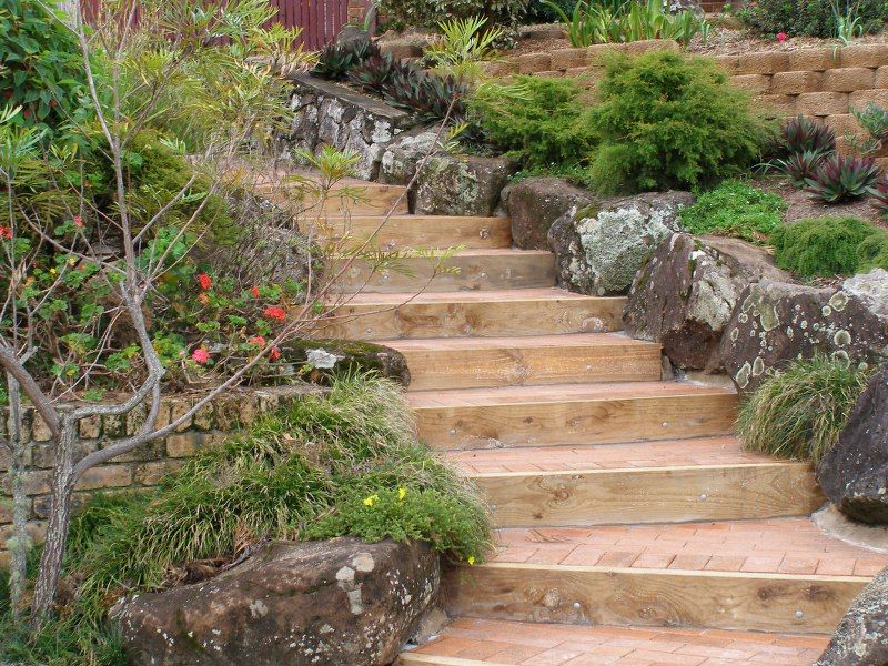 Rockery at one side of garden steps sloping steps Pinterest