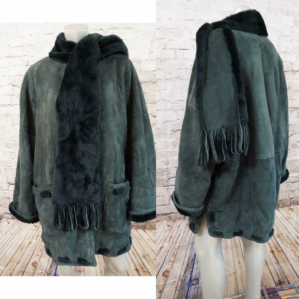 ARTICO Shearling Jacket Coat Green Suede Leather Attached Fringe ...