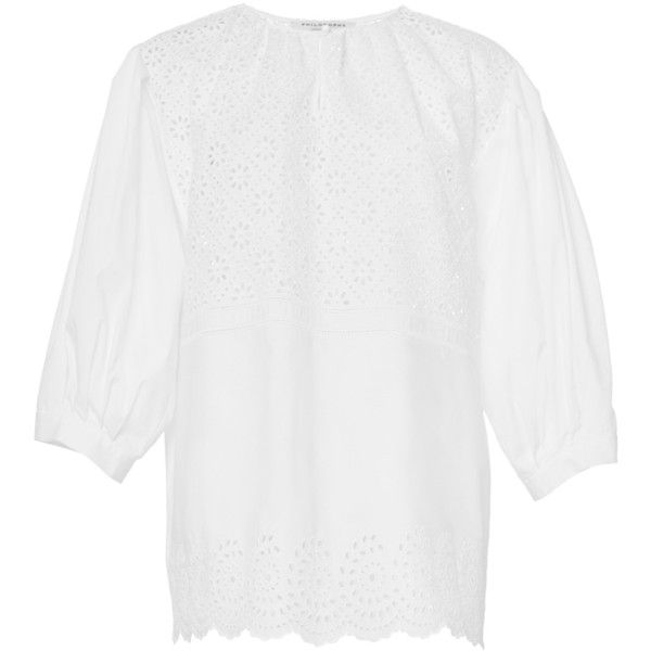 Philosophy di Lorenzo Serafini Embroidered Poplin Cutwork Blouse ($380) ❤ liked on Polyvore featuring tops, blouses, embroidery blouse, scalloped blouse, puff sleeve top, button front blouse and white embroidered top