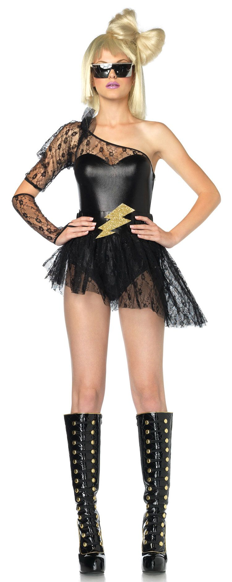 Girls\' one shoulder lace cheap halloween costumes LADY GAGA ...