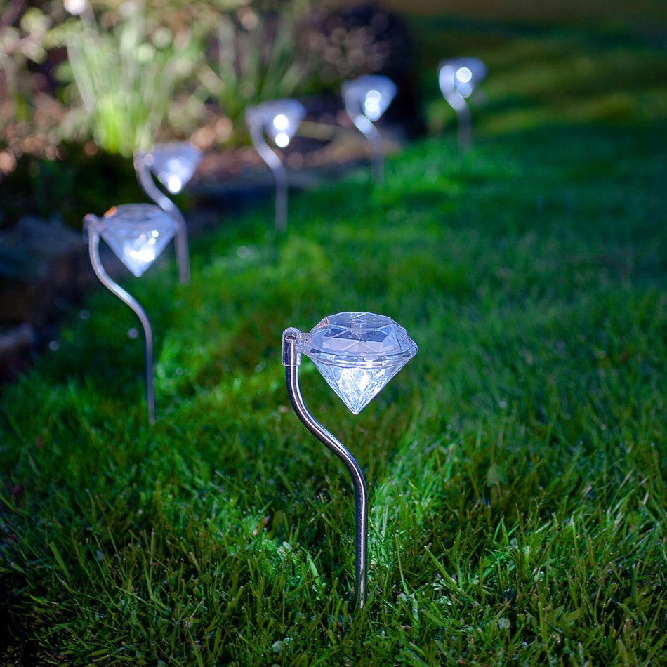6 Solar Diamond Stake Lights With White Leds By Lumineo Outdoor