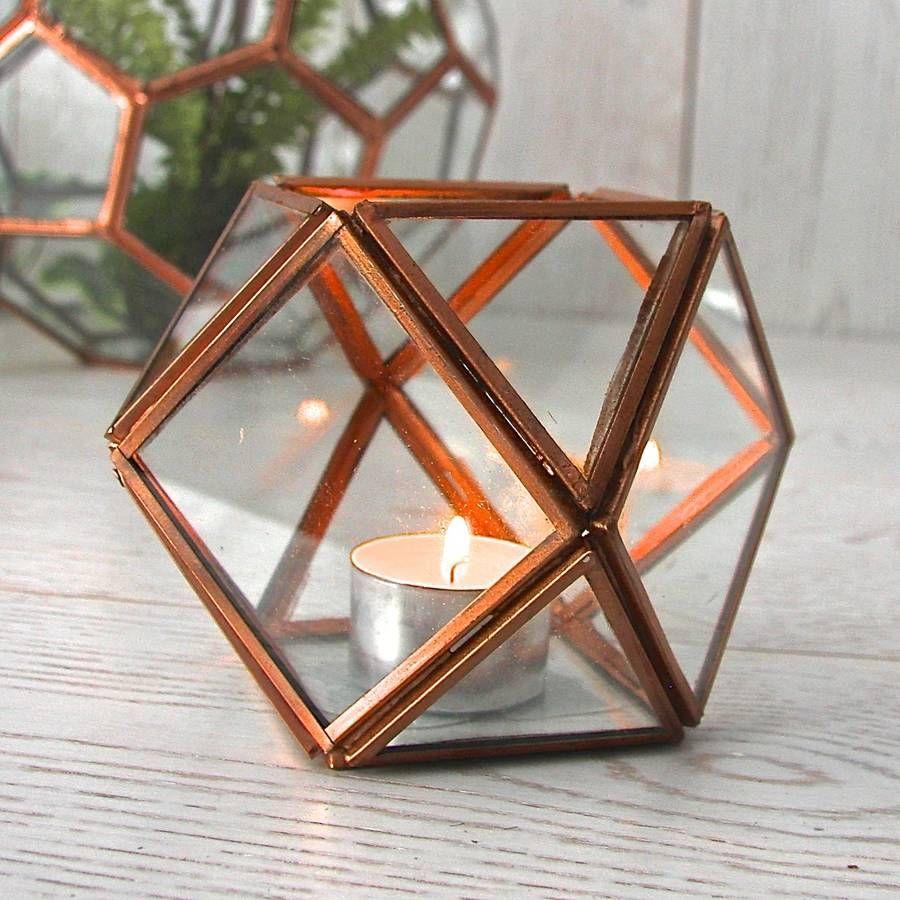 Geometric Glass Tealight Holder