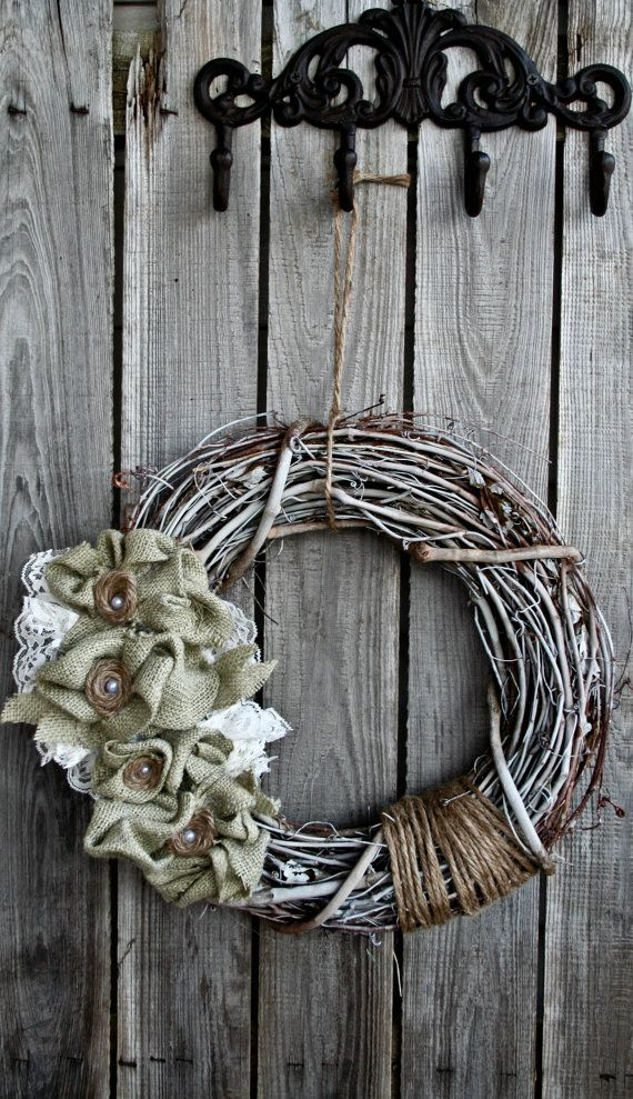 Rustic Burlap Hemp and Lace Wreath by TheCreativeGypsy on Etsy