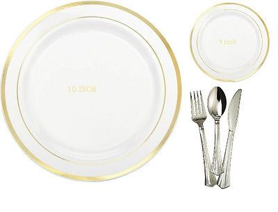 10u0027 u0026 9u0027 Dinner/Wedding Party Disposable Plastic Plates Silverware White /GoldRim  sc 1 st  Pinterest : white disposable plates - Pezcame.Com