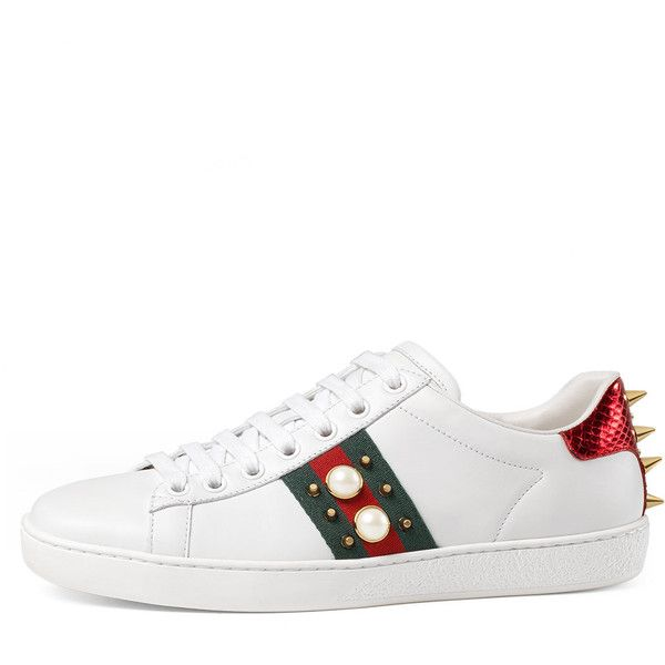 dba9353c4aa7 Gucci New Ace Studded Web Low-Top Sneaker ( 650) ❤ liked on Polyvore  featuring shoes, sneakers, white, lace up sneakers, white leather shoes, ...