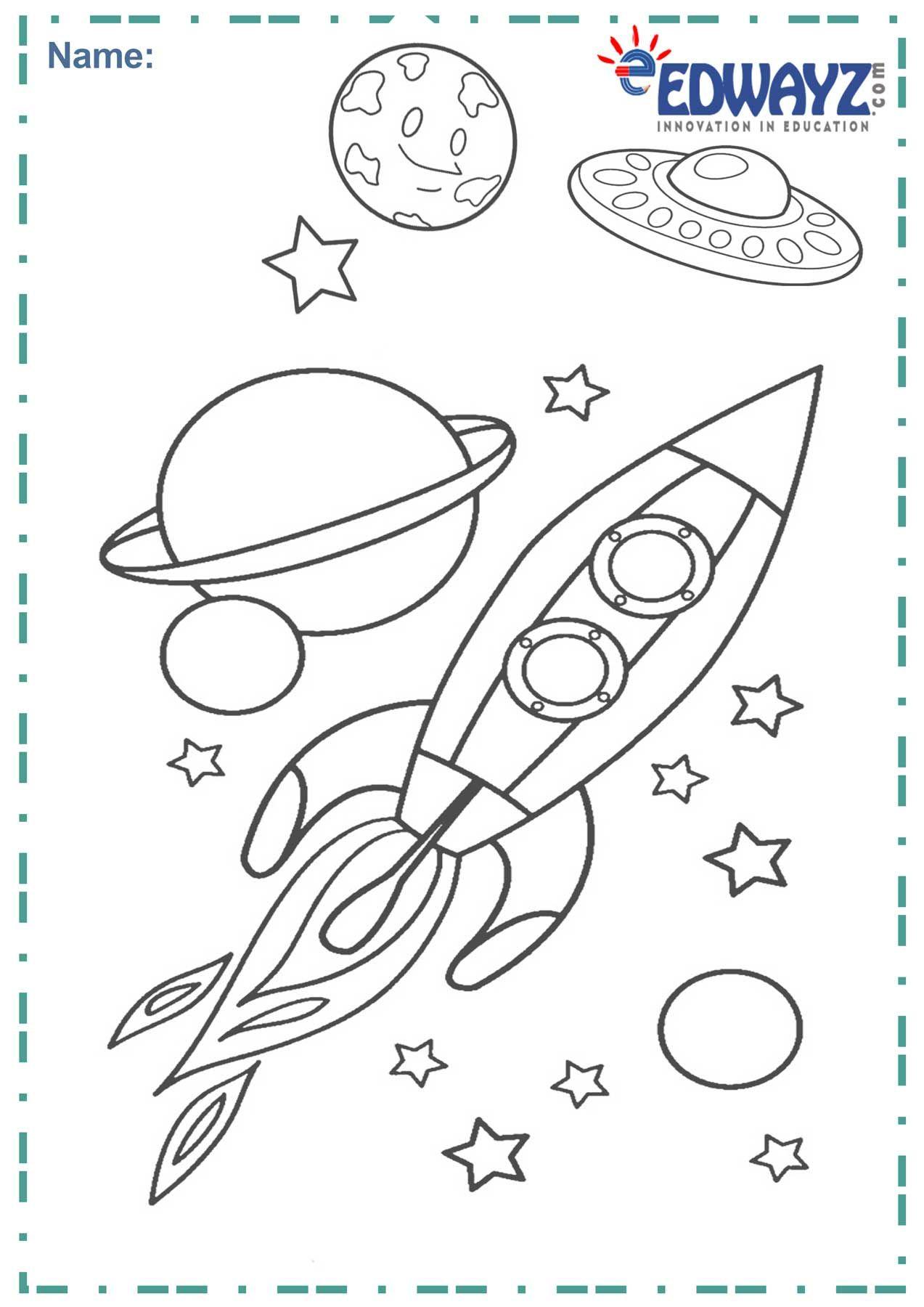 Space Colouringsheets Edwayz Kids Colour Fun