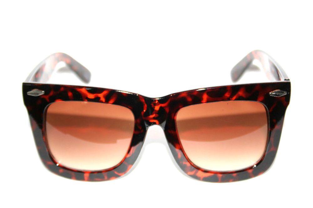 ff0e871ba687 Oversize Horn Rimmed Nerd Tortoise Brown Frame Geek Shades Sunglasses XXL  Large  Kiss  Square
