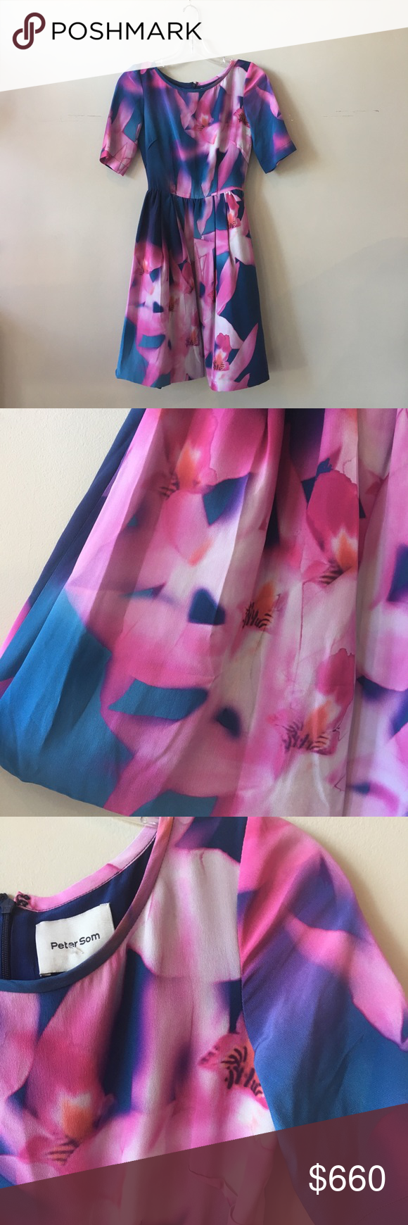 "Peter Som Orchid Dress Soft purple orchid dress  Bust: 16"" Length: 35""  HLC 1201-1295 Peter Som Dresses Midi"