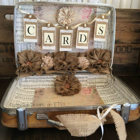 Vintage Suitcase Wedding Card Holder Rustic Wedding gift table card box Country Wedding