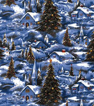 Holiday Inspirations Fabric-Winter Village Scenic Glitter