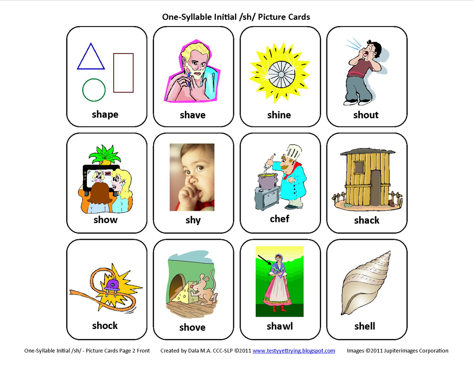 Initial Sh Free Speech Therapy Articulation Picture Cards