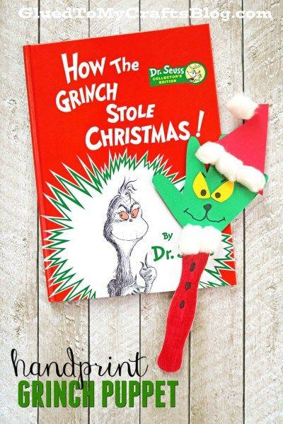 Handprint Grinch Puppet - Kid Craft Grinch, Puppet and Craft