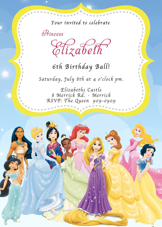 CUSTOM PHOTO Invitations Disney Princess Birthday Invitation