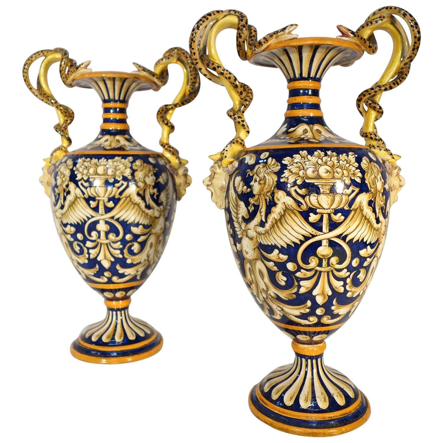 Pair of antique 19th century majolica italian amphorae 120000 pair of antique century majolica italian vases reviewsmspy