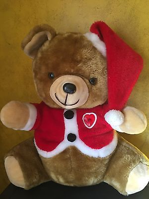 Play Christmas Music.Vintage 20 Inch Plush Santa Teddy Bear With Light Up Heart