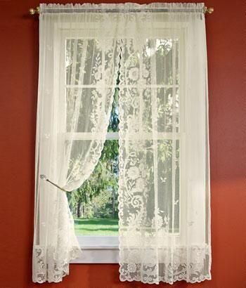 Floral Point Lace Rod Pocket Curtains - Curtains | Pinterest