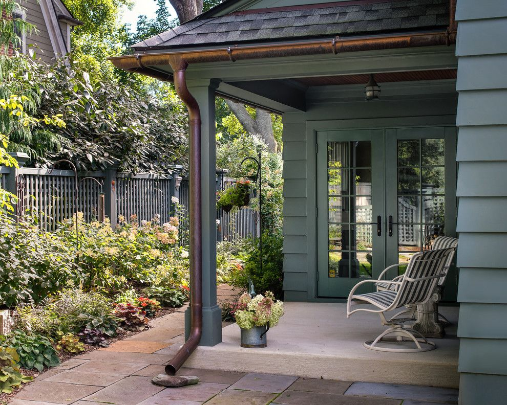 Faux Copper Gutters Porch Traditional With Annuals Composite Shingle Roof Exterior House Colors Copper House Traditional Porch