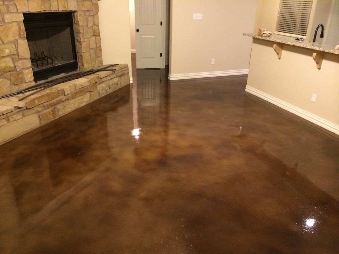Concrete Stain Kona Brown Abilene Texas Interior