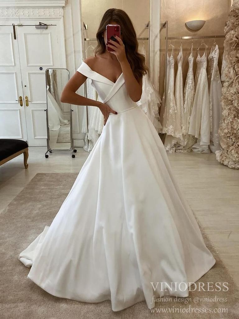 Simple A Line Wedding Dresses Off The Shoulder Satin Bridal Dress Vw1553 Trendy Wedding Dresses Wedding Dress Trends A Line Wedding Dress [ 1024 x 768 Pixel ]