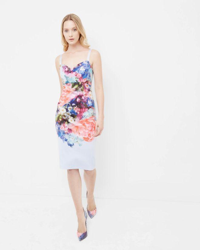 Focus Bouquet midi dress - Pale Blue | Dresses | Ted Baker