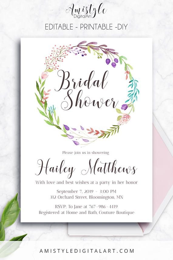Printable bridal shower invitation card with elegant and romantic printable bridal shower invitation card with elegant and romantic watercolor floral wreath by amistyle digital filmwisefo Choice Image