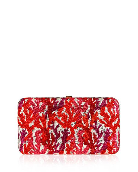 603178a92 Get free shipping on Judith Leiber Couture Coral Crystal Rectangle Clutch  Bag, Red/Multi at Neiman Marcus. Shop the latest luxury fashions from top  ...
