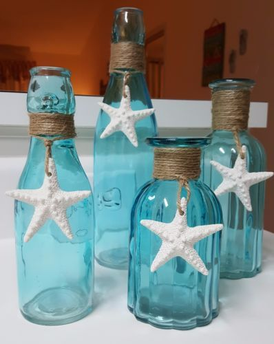 Starfish Beach Glass Vase Sea Glass Vase Beach Decor Blue Turquoise Ribbed #beachcottageideas