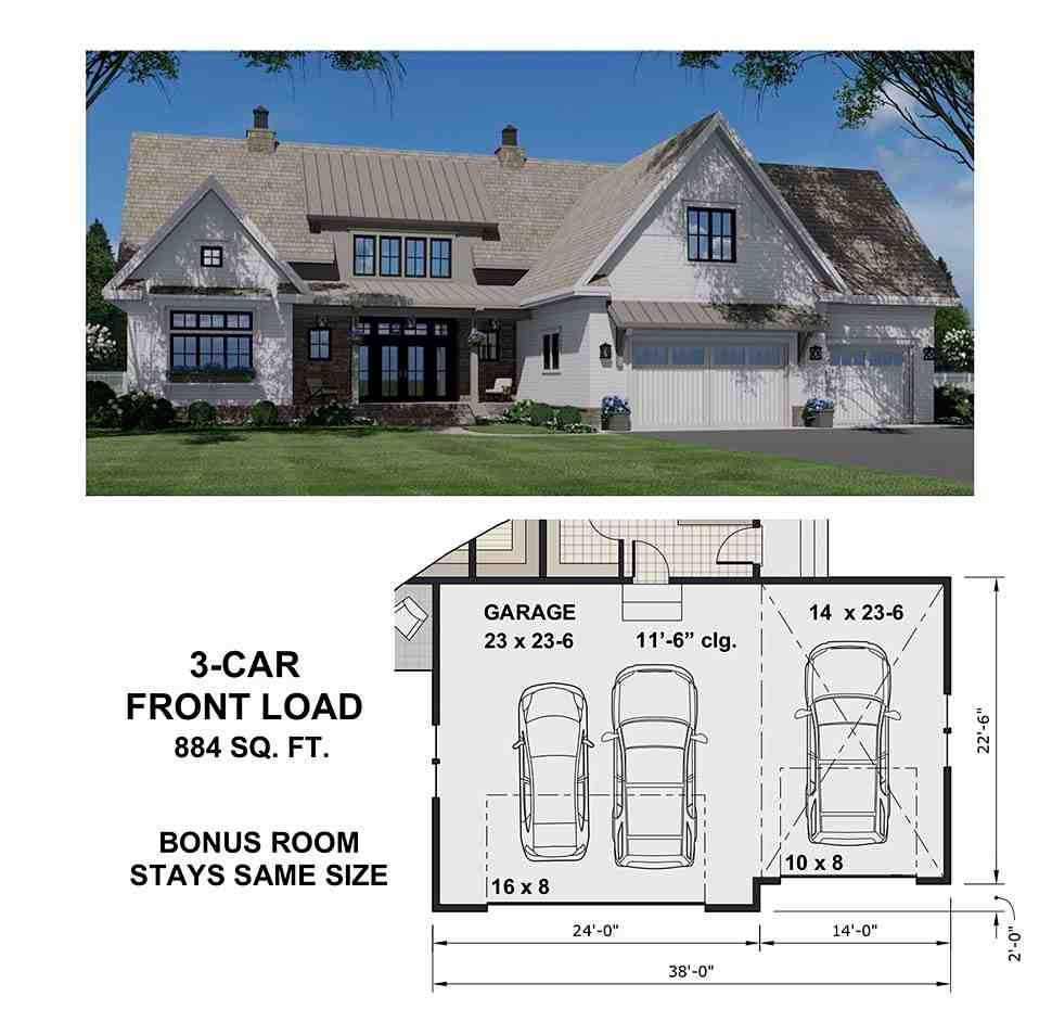 Country Style House Plan with 4 Bed 5 Bath 2 Car Garage